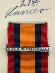 QSA Relief of Ladysmith medal ribbon bar