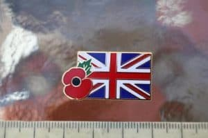 Union jack flag & poppy badge