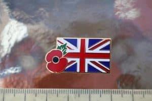 Union jack flag & poppy badge