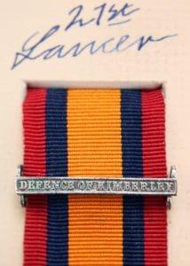 QSA Defence of Kimberley clasp medal ribbon bar