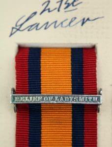 QSA Relief of Ladysmith medal ribbon bar