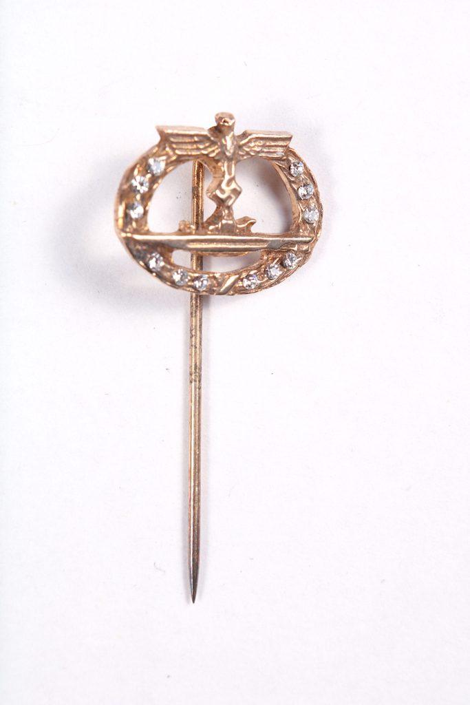 WW2 German stick pin miniature lapel U-BOOT WAR badge with brilliant stones